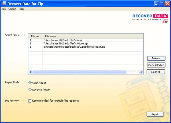 โปรแกรมซ่อมไฟล์ซิป Recover Data Zip