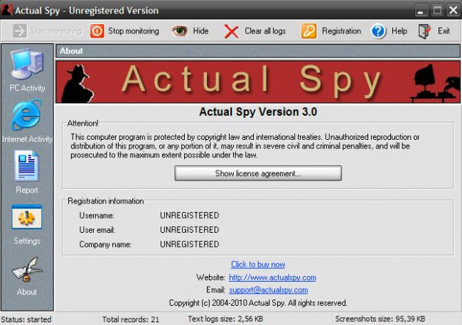 Actual Spy (โปรแกรม ตรวจสอบการใช้งานบน แป้นพิมพ์ - Keyboard) :