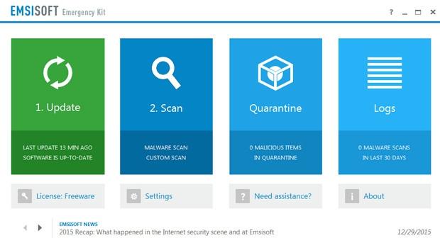 โปรแกรมสแกนไวรัส Emsisoft Free Emergency Kit