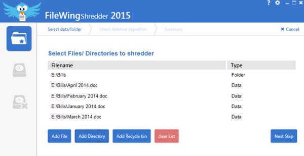 โปรแกรมลบไฟล์ถาวร FileWing Shredder
