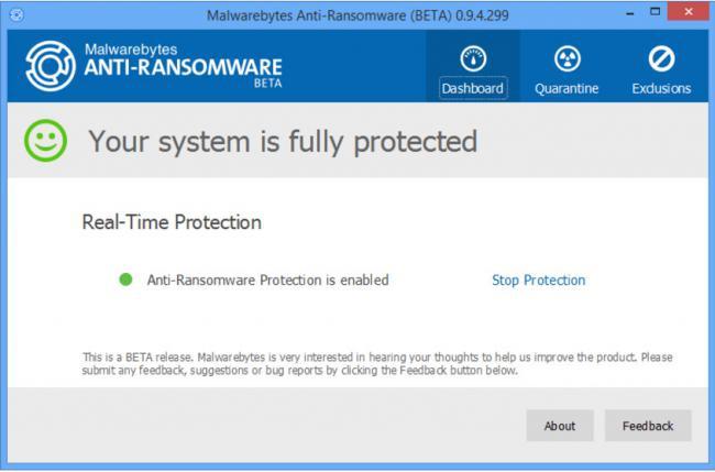 โปรแกรมป้องกันไวรัสเรียกค่าไถ่ Malwarebytes Anti-Ransomware