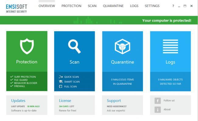 โปรแกรมดูแลความปลอดภัยของระบบอินเทอร์เน็ต Emsisoft Internet Security