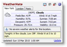 โปรแกรมรายงานสภาพอากาศ WeatherMate