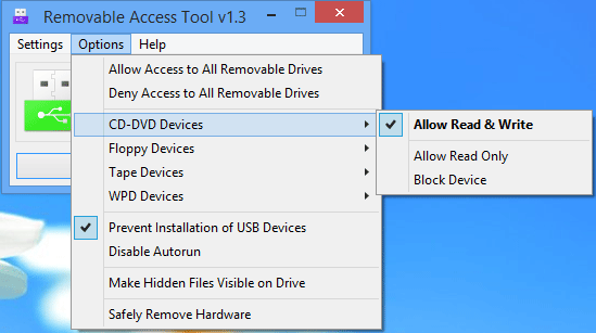 โปรแกรมกำหนดสิทธิ์ไดร์ฟ USB Ratool