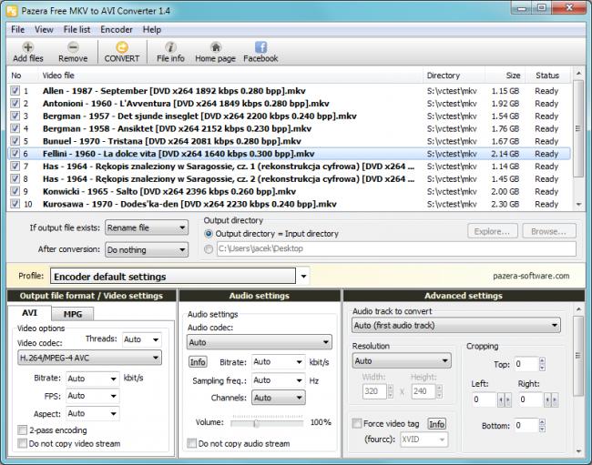 โปรแกรมแปลงไฟล์ Pazera Free MKV to AVI Converter