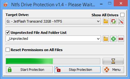 โปรแกรมป้องกันไวรัสจากแฟลชไดร์ฟ NTFS Drive Protection