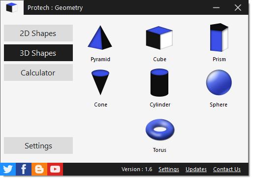 โปรแกรมคำนวณ สูตรเลขาคณิตศาสตร์ Protech Geometry