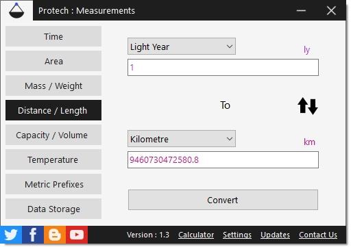 โปรแกรมแปลงหน่วย มาตร วัด ชั่ง ตวง Protech Measurements