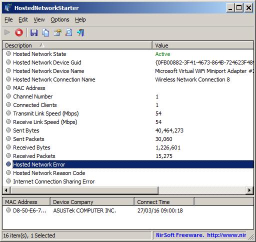 โปรแกรมแชร์เน็ตHotSpot HostedNetworkStarter
