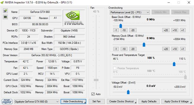 โปรแกรมตรวจสอบ และ โอเวอร์คล็อกการ์ดจอ NVIDIA Inspector