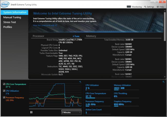 โปรแกรมปรับแต่งคอม Intel Extreme Tuning Utility