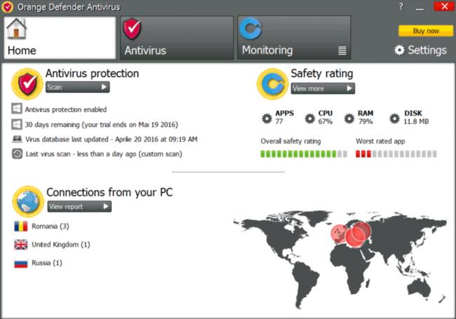 โปรแกรมป้องกันไวรัสมัลแวร์ Orange Defender