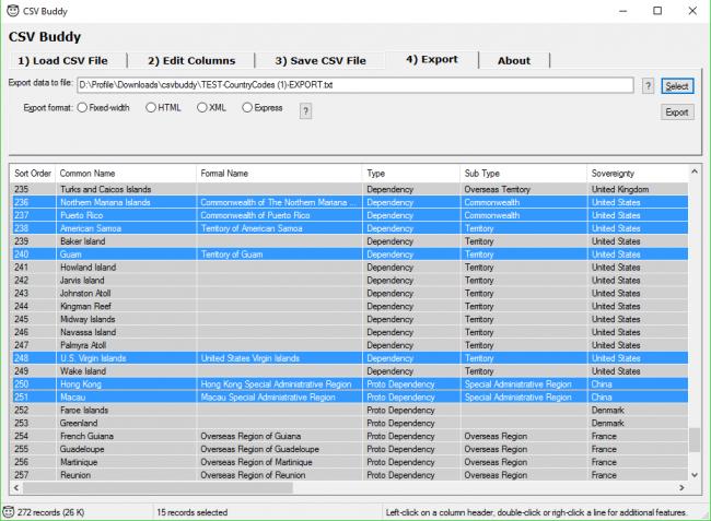 โปรแกรมจัดการไฟล์ตารางข้อมูล CSV Buddy