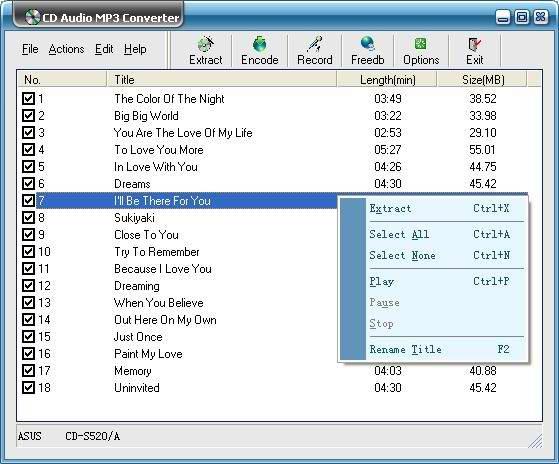 โปรแกรมแปลงไฟล์เพลง CD Audio MP3 Converter