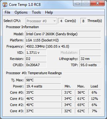 โปรแกรมดูซีพียู Core Temp
