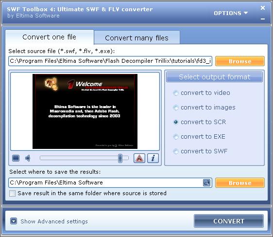โปรแกรมเครื่องมือจัดการไฟล์ Flash แปลงไฟล์ SWF Toolbox