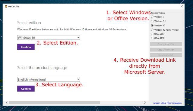 โปรแกรมช่วยดาวน์โหลด Windows ISO Downloader