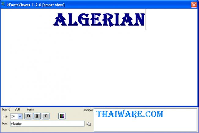 โปรแกรมดูรูปแบบฟอนต์ kFontsViewer