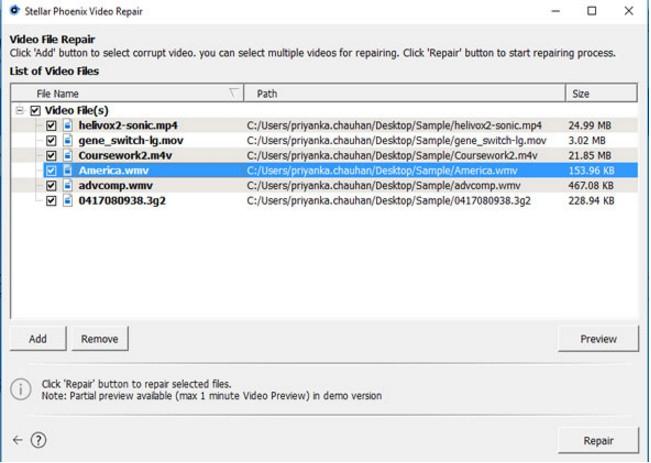 โปรแกรมซ่อมไฟล์วีดีโอ Stellar Phoenix Video Repair