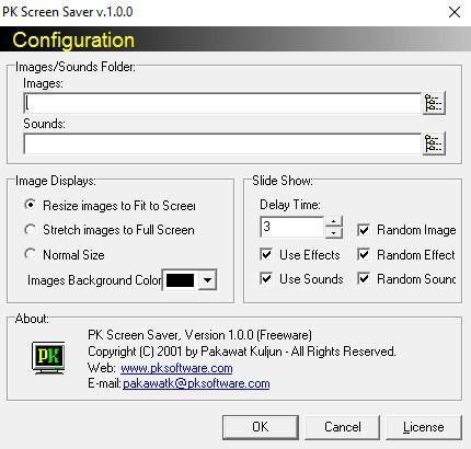 โปรแกรมสร้างสกรีนเซฟเวอร์ PK Screen Saver
