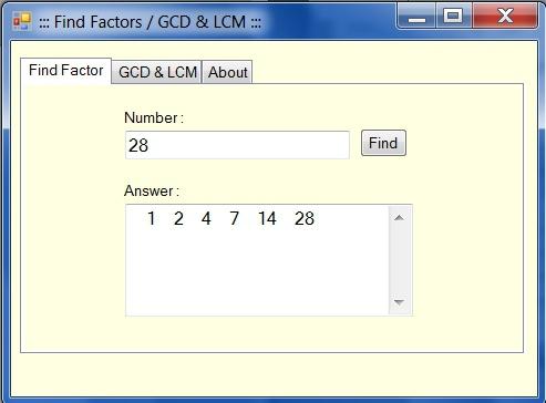 โปรแกรมหาตัวประกอบ หรม ครน Find Factors Calculator GCD & LCM