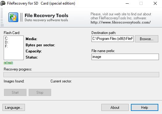 โปรแกรมกู้ไฟล์ข้อมูลที่สูญหาย บน เอสดีการ์ด FileRecovery For SD