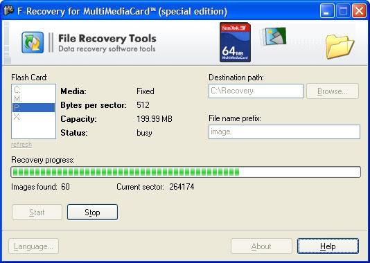 โปรแกรมกู้ไฟล์มัลติมีเดีย F-Recovery for MultiMediaCard