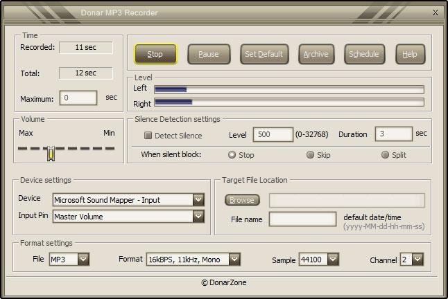 โปรแกรมอัดเสียง Donar MP3 Recorder