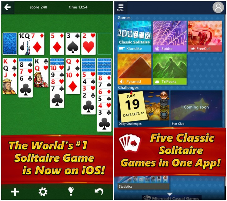 App เกมส์ไพ่ Microsoft Solitaire Collection