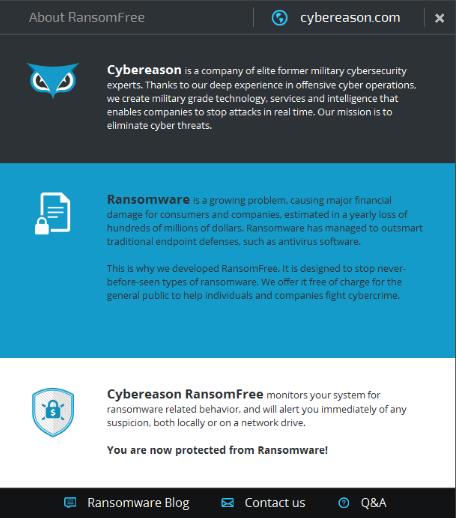 โปรแกรมป้องกันไวรัสเรียกค่าไถ่ RansomFree