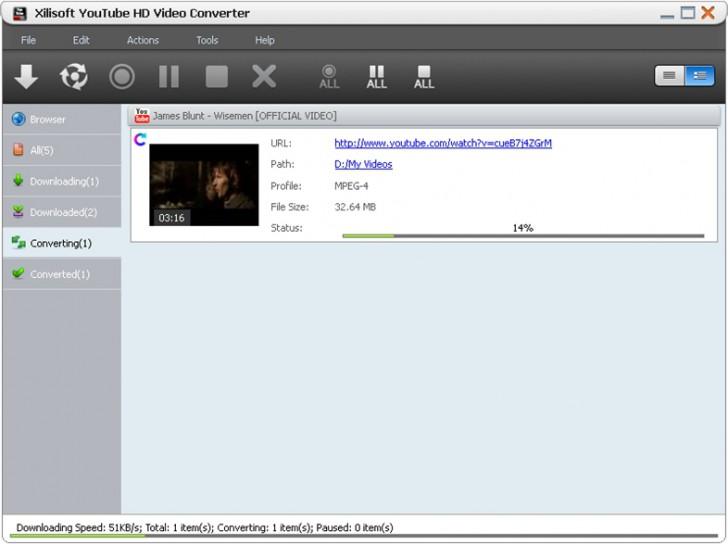 โปรแกรมแปลงไฟล์วีดีโอ Xilisoft YouTube HD Video Converter