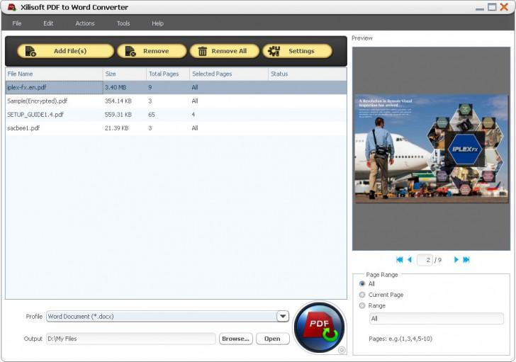 โปรแกรมแปลงไฟล์ Xilisoft PDF to Word Converter