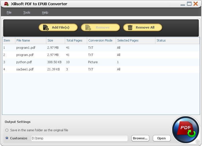 โปรแกรมแปลงไฟล์ Xilisoft PDF to EPUB Converter