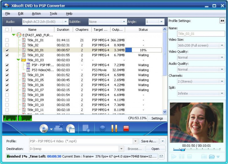 Xilisoft DVD to PSP Suite (โปรแกรมแปลงไฟล์ DVD to PSP Suite) :