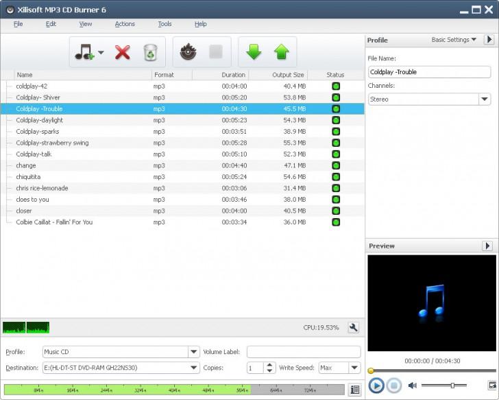 Xilisoft MP3 CD Burner (โปรแกรมเบิร์น MP3 ไรท์แผ่นลง CD)