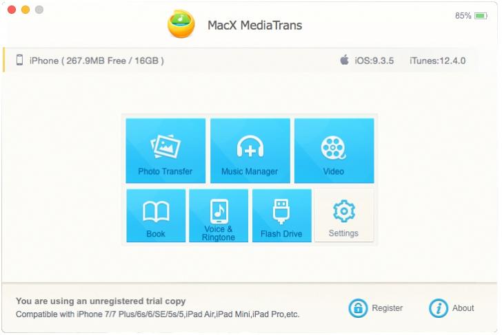 โปรแกรมสำรองข้อมูล MacX MediaTrans