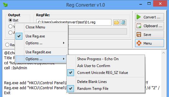 โปรแกรมแปลงไฟล์ Reg Converter