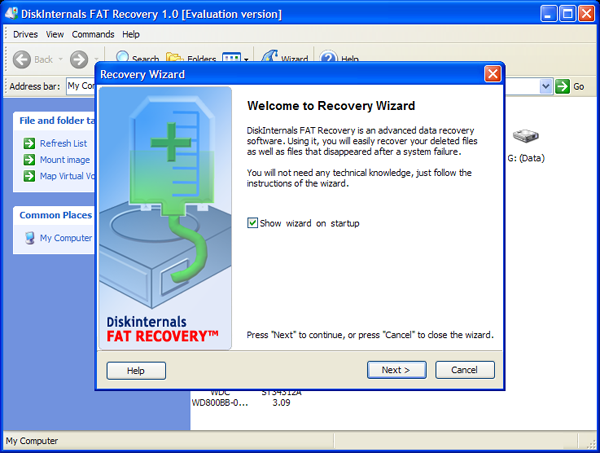 โปรแกรมกู้ข้อมูลฮาร์ดดิสก์ DiskInternals FAT Recovery