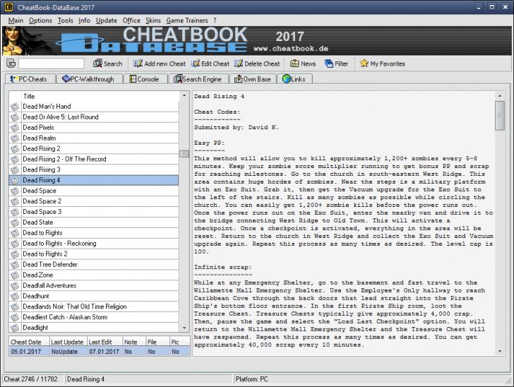 โปรแกรมรวมสูตรเกมส์ CheatBook DataBase