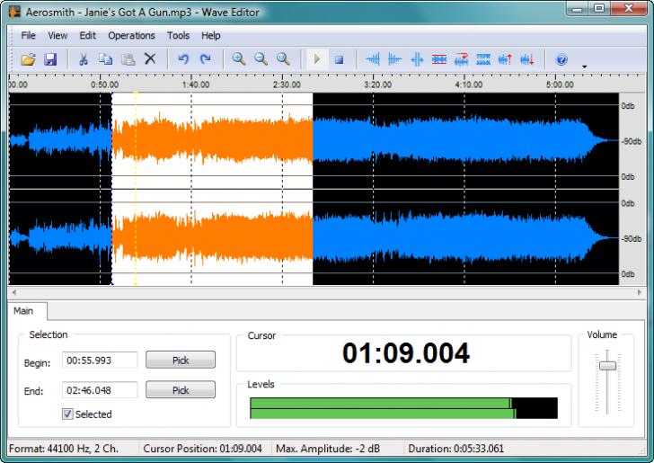 โปรแกรมแก้ไขไฟล์เสียง Wave Editor