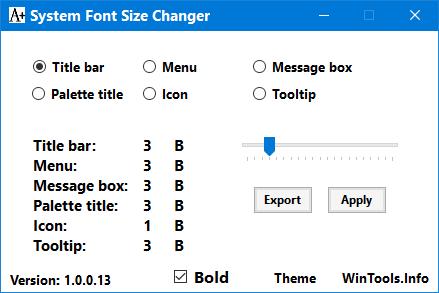 โปรแกรมเปลี่ยนขนาดSystem Font Size Changer