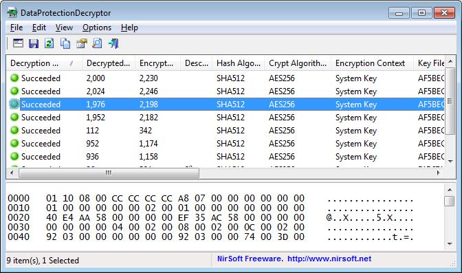 โปรแกรมถอดรหัส DataProtectionDecryptor