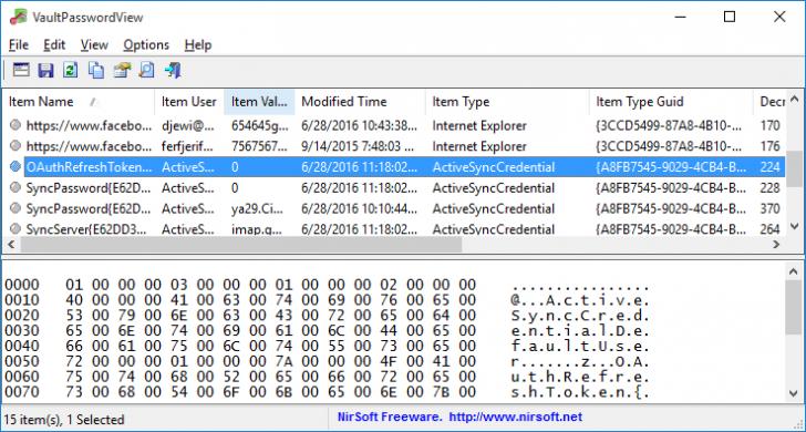 โปรแกรมดูรหัสผ่าน ดูพาสเวิร์ด VaultPasswordView
