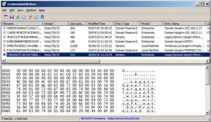 โปรแกรมดูรหัสผ่าน CredentialsFileView