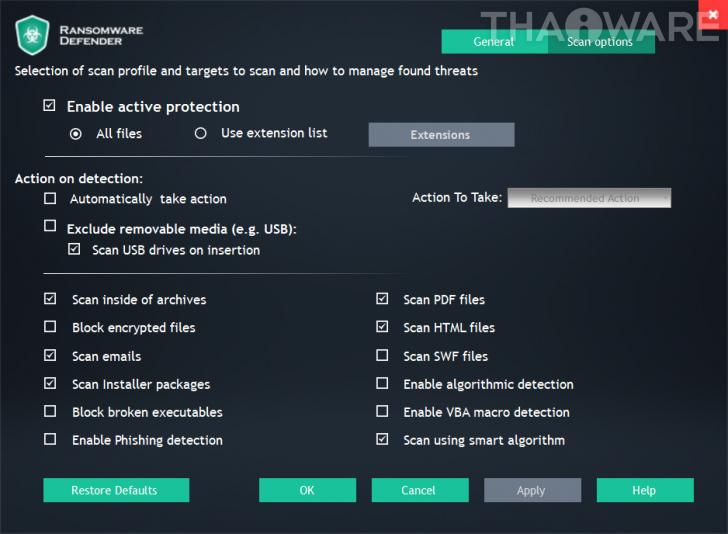 โปรแกรมป้องกันมัลแวร์เรียกค่าไถ่ Ransomware Defender