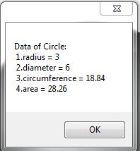 Circle Area Calculator (โปรแกรม Circle Area Calculator หาค่าวงกลม คำนวณพื้นที่ เส้นรอบวง) :