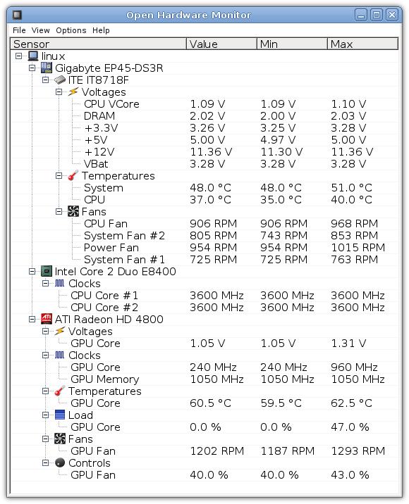 โปรแกรมวัดอุณหภูมิ วัดไฟฟ้า วัดความเร็ว Open Hardware Monitor