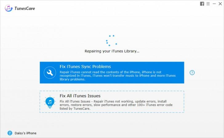 โปรแกรมแก้ไขปัญหา iTunes ฟรี TunesCare
