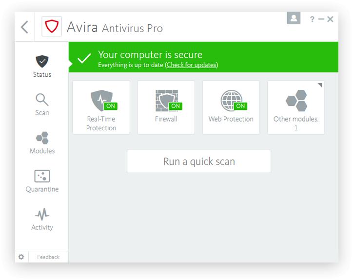 โปรแกรมสแกนไวรัส แอนตี้ไวรัส Avira Antivirus Pro