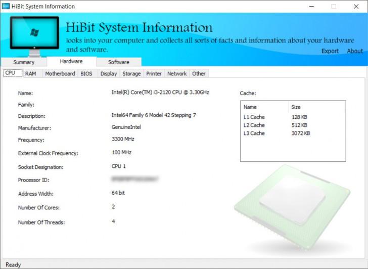 โปรแกรมเช็คสเปคคอมพิวเตอร์ HiBit System Information
